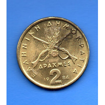 Moeda Grécia 2 Drachmas Guerra Independencia 1976-86 24 Mm