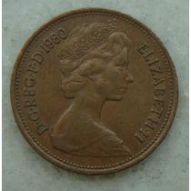 2140 Inglaterra 2 New Pence, 1980 , Bronze, 26 Mm, Elizabeth