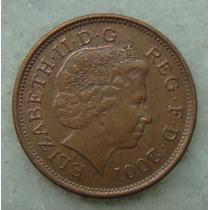2184 Inglaterra 2001 Two Pence Elizabeth I I 26mm - Bronze