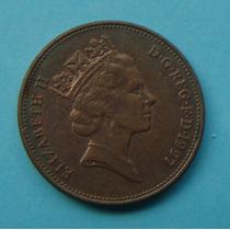 33 - Inglaterra 2 New Pence 1997, 26mm Elizabeth - Bronze