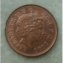 9692 Inglaterra 2 New Pence, 2000 , Bronze, 26 Mm