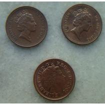 3119 Inglaterra One Penny 3 Moedas 1996,1990,2001 - 20mm