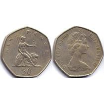 Moeda Inglaterra - 50 New Pence - 1969 28 Mm Elizabeth Ii