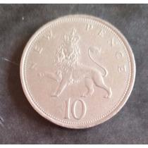Moeda Inglaterra 1973 - 10 Dez Ten New Pence Leão - 28mm