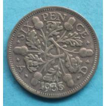 Inglaterra: Prata Moeda 6 Pence 1935 Soberba Menos