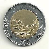Itália - Bimetálica - 500 Liras Italianas De 1990