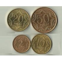 Set 4 Moedas Do Cazaquistão, 2 A 50 Tyin 1993 Todas Fc