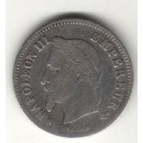 Moeda Antiga França 20 Centimes - 1866 B - Prata - Napoleao