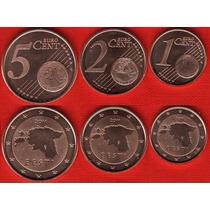 Lote Estonia 3 Moedas Euro - 1, 2, 5 Cents 2011 Fc