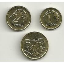 Set Polônia (1, 2 E 5 Groszy) - Novo Design - Todas Unc