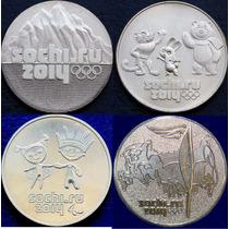 Todas 4 Moedas Russia Comemorativa Olimpiada Sochi 2011-2014
