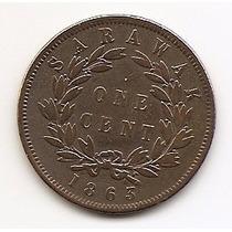 Sarawak, Moeda De 1 Cent, 1863, Cobre, Mbc - Escassa -