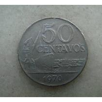 4119 - Brasil 50 Centavos 1970- Niquel Serrilha, Escasso