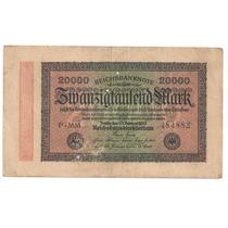 Alemanha 20 000 Marcos Reichsbanknote Dois Furinhos