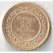 Tunisia 1904 20 Francos Ouro Rara 6,45 Gramas Perfeita