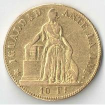 Chile 10 Pesos 1853 Rara 15,25 Gramas Ouro 900 29mm Mbc