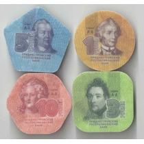 Serie Transnistria 10,5 3,1 Rublos Novas Plastico 4 Moedas
