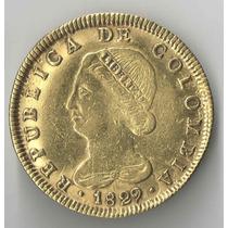 Colombia 8 Escudos 1829 Muito Rara 26,8 Gramas Ouro 875