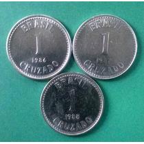3 Moedas De 1 Cruzado Cz$ = 1986, 87, E 88 - Série Completa