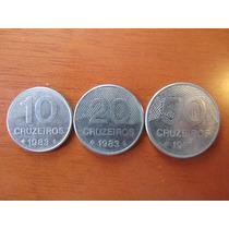 Moeda - Brasil - 10, 20 E 50 Cruzeiros - 1983 - Sob