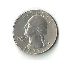 Moeda Rara Antiga Eua, Quarter Dollar (25 Cents), Ano 1983