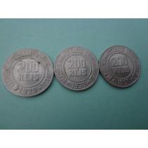 3 Moedas República Cúpro-níquel 200 Réis Anos 1929-1930-1931
