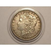 Usa) 1 Dollar - 1886 ( Morgan Dollar ) Vf+ ( Estojo)
