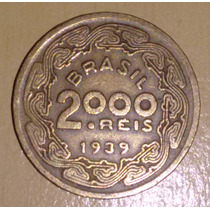 Moeda 2000 Réis Ano 1939 Mbc - Floriano Peixoto