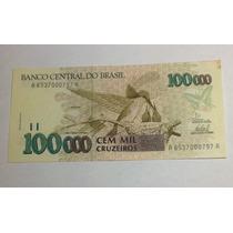 Cedula 100,000 Cruzeiros 1993. C230 Fe Pequena Mancha
