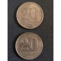 Moedas De 20 Centavos De 1942 E 1943 Níquel-rosa / Getúlio