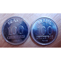 2 Moedas Brasileiras Antigas - 100 Cruzeiros 1985