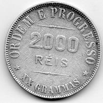 Moeda Prata Xx Grammas 2000 Réis 1911