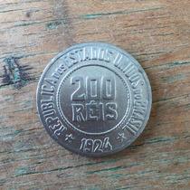 Moedas Antigas Do Brasil - 200 Réis Ano 1924 Cupro Níquel