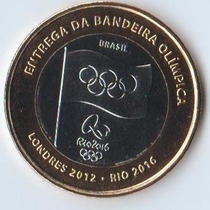 Moeda Olimpica Entrega Bandeira Rio 2016 - Envio Gratis
