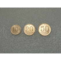 10, 20 E 50 Centavos 1943 - Níquel Rosa