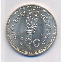 New Hebrides 100 Francs Prata 1966. Rara E Linda Moeda.