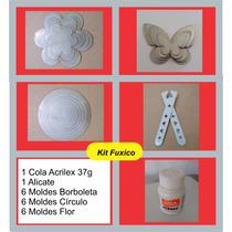 Kit 3 Moldes Fuxico:flor,circulo Borboletas + Alicate +cola