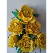 Flores Artificiais Rosa Grande Amarela - 6 Rosas
