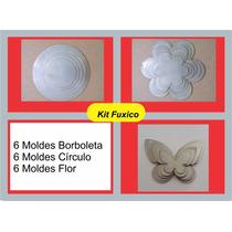 Kit 3 Moldes Para Fuxico: Flor,circulo E Borboletas 18 Peças