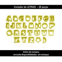 Kit Cortador De Letras Plastico Blue Star 28pç Confeitaria