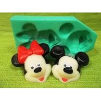 01 Molde De Silicone Minnie E Mickey 2 Cavidades P/ Sabonete