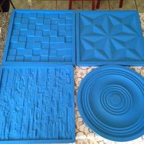 Molde Silicone Gesso Placas Parede - 4 Peças Em 3d - 39x39cm