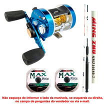 Carretilha Marine Sports Caster 400 + Vara Maruri + 2 Linha