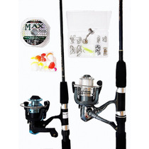 Kit 2 Molinete Estar 3 Rolamentos Marine Sports +2 Varas150m
