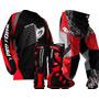 Kit Conjunto Motocross Bota Calça Camisa Vermelha Pro Tork