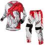 Calça E Camisa Jett Veneno Branca Vermelho Motocross Trilha