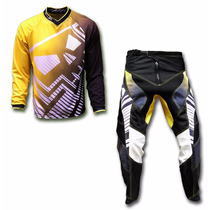 Kit Conjunto Roupa Motocross Trilha Big Amarelo Skull Racing