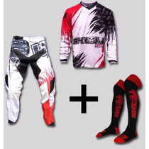 Kit Conjunto Roupa Motocross Trilha + Meião + Frete Gratis
