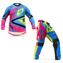 Kit Roupa Para Motocross Pro Tork Insane 4 Azul E Rosa