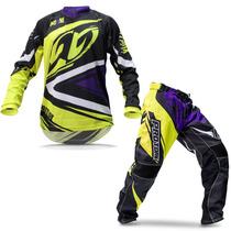 Kit Roupa Motocross Trilha Pro Tork Insane 4 Amarela Roxa M